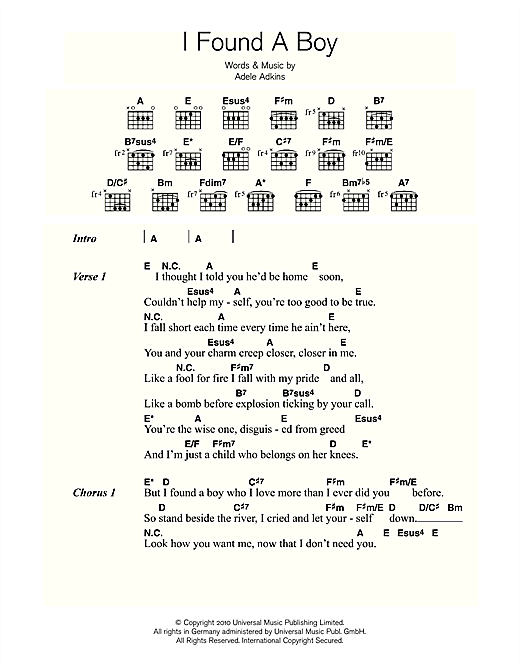 Adele I Found A Boy sheet music notes and chords