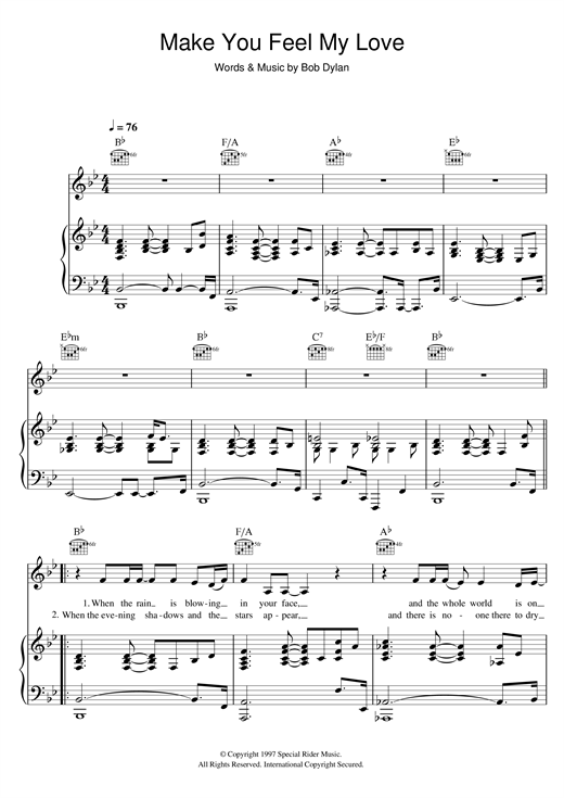Adele Make You Feel My Love sheet music notes and chords