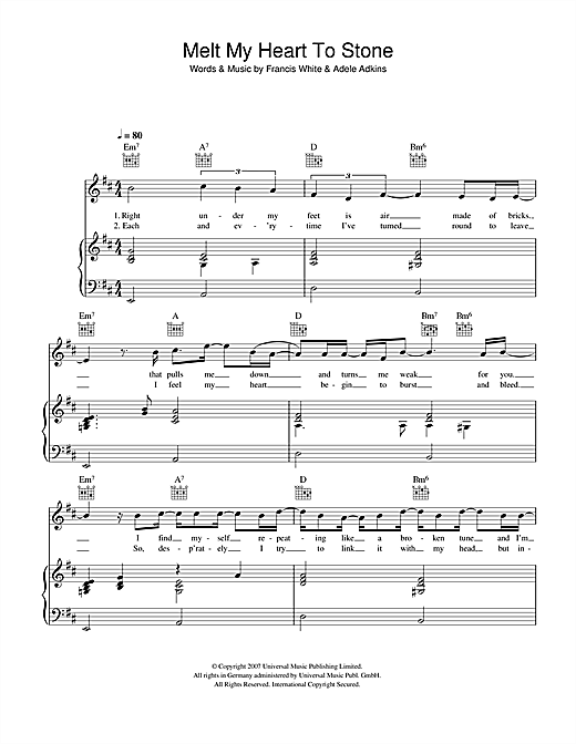 Adele Melt My Heart To Stone sheet music notes and chords