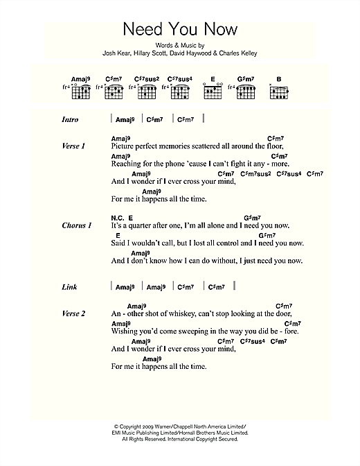 Adele Need You Now sheet music notes and chords