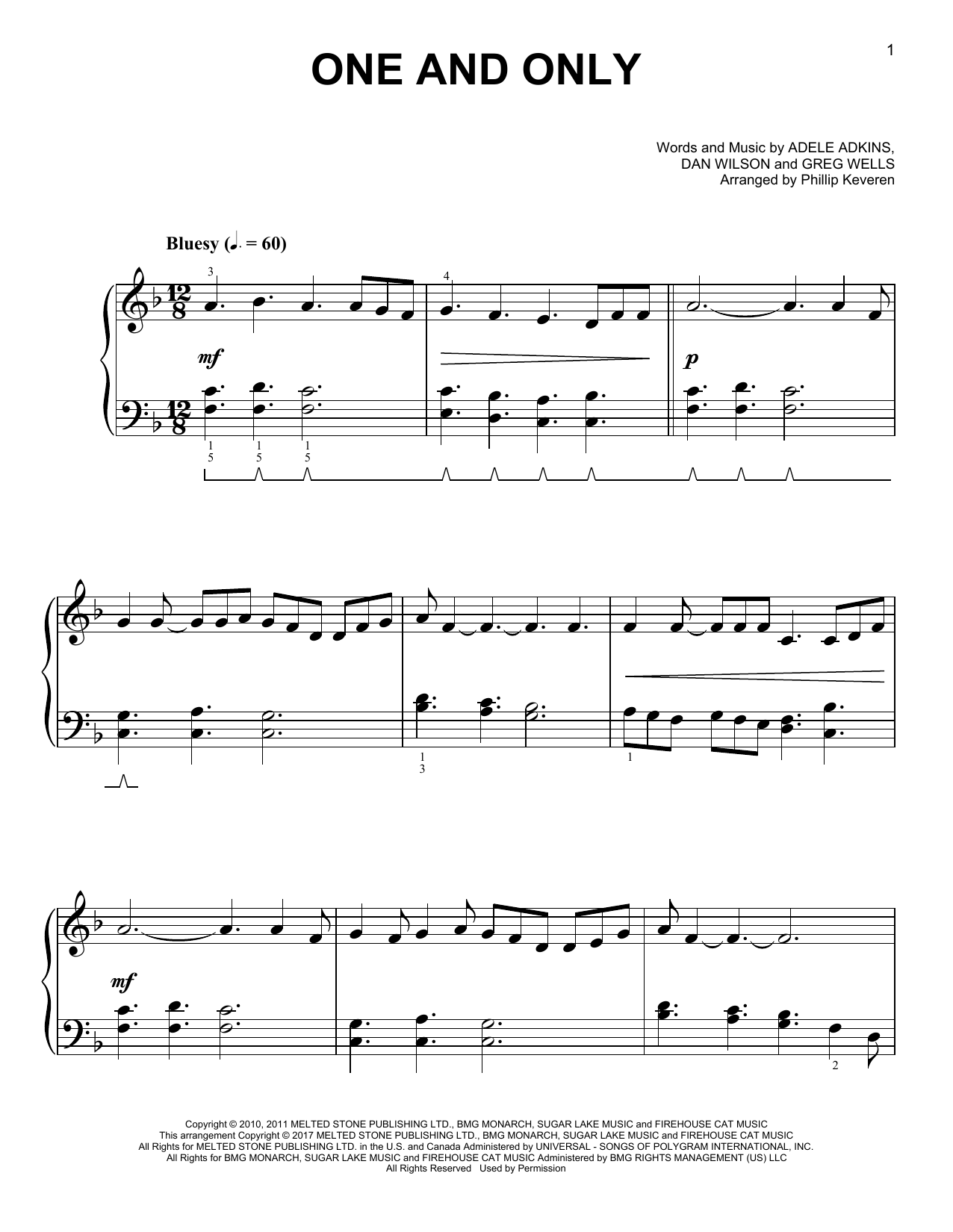 Adele One And Only [Classical version] (arr. Phillip Keveren) sheet music notes and chords. Download Printable PDF.