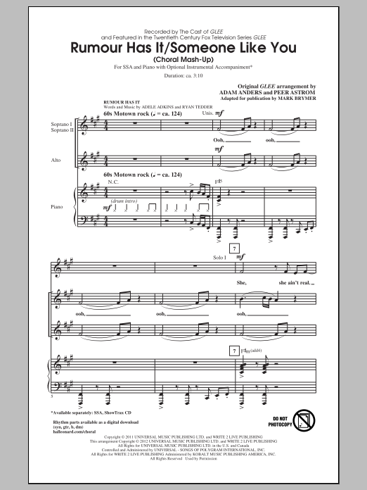 Adele Rumour Has It / Someone Like You (arr. Mark Brymer) sheet music notes and chords. Download Printable PDF.