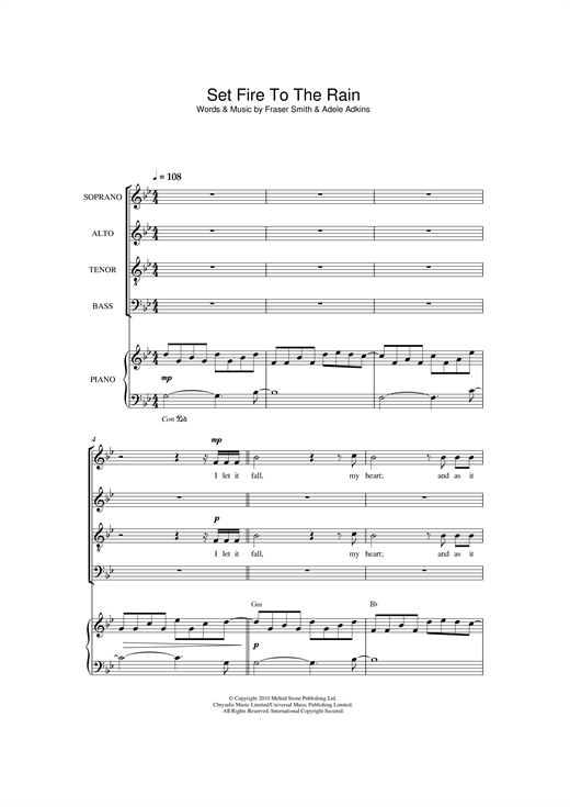 Adele Set Fire To The Rain (arr. Christopher Hussey) sheet music notes and chords. Download Printable PDF.