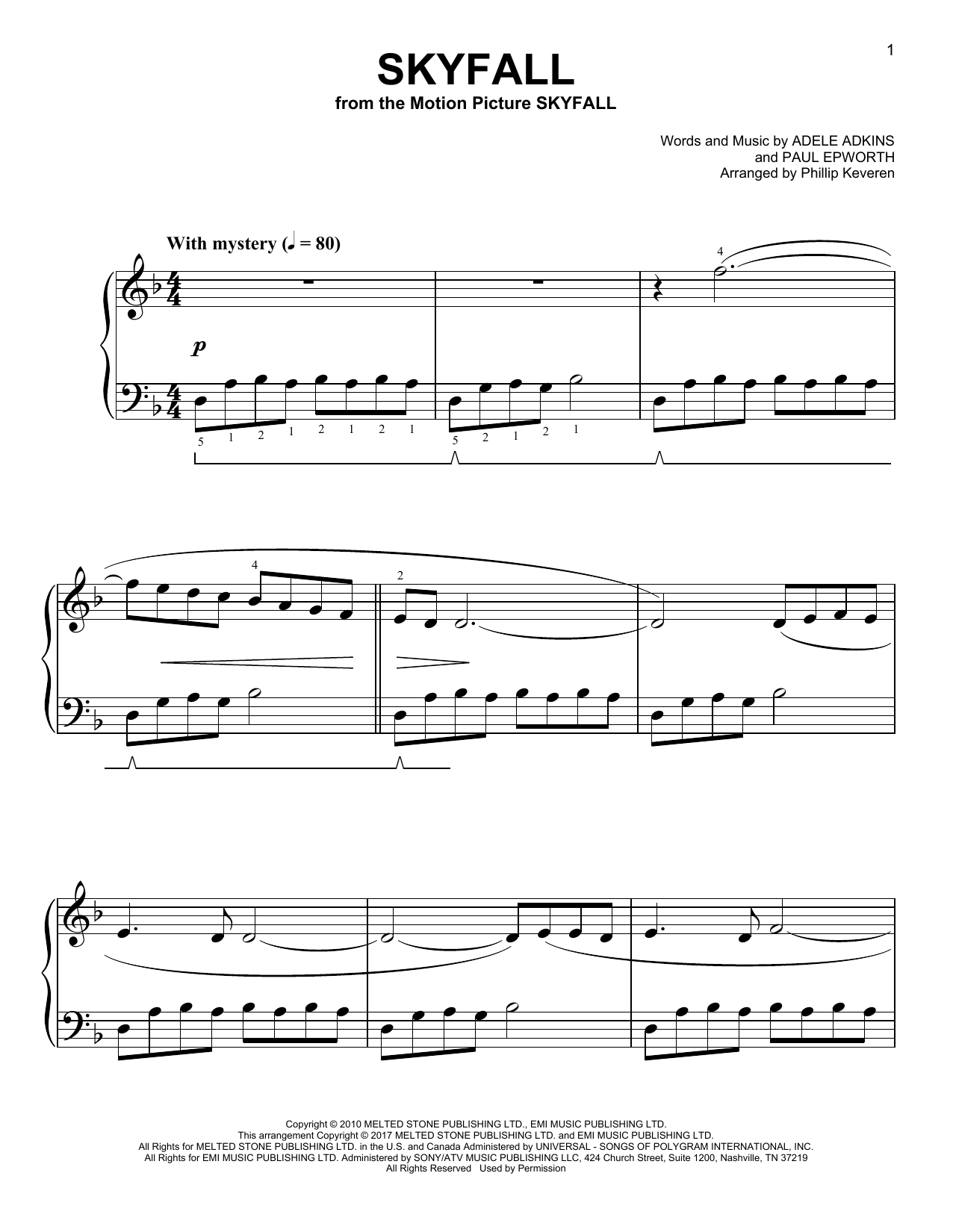 Adele Skyfall [Classical version] (arr. Phillip Keveren) sheet music notes and chords. Download Printable PDF.
