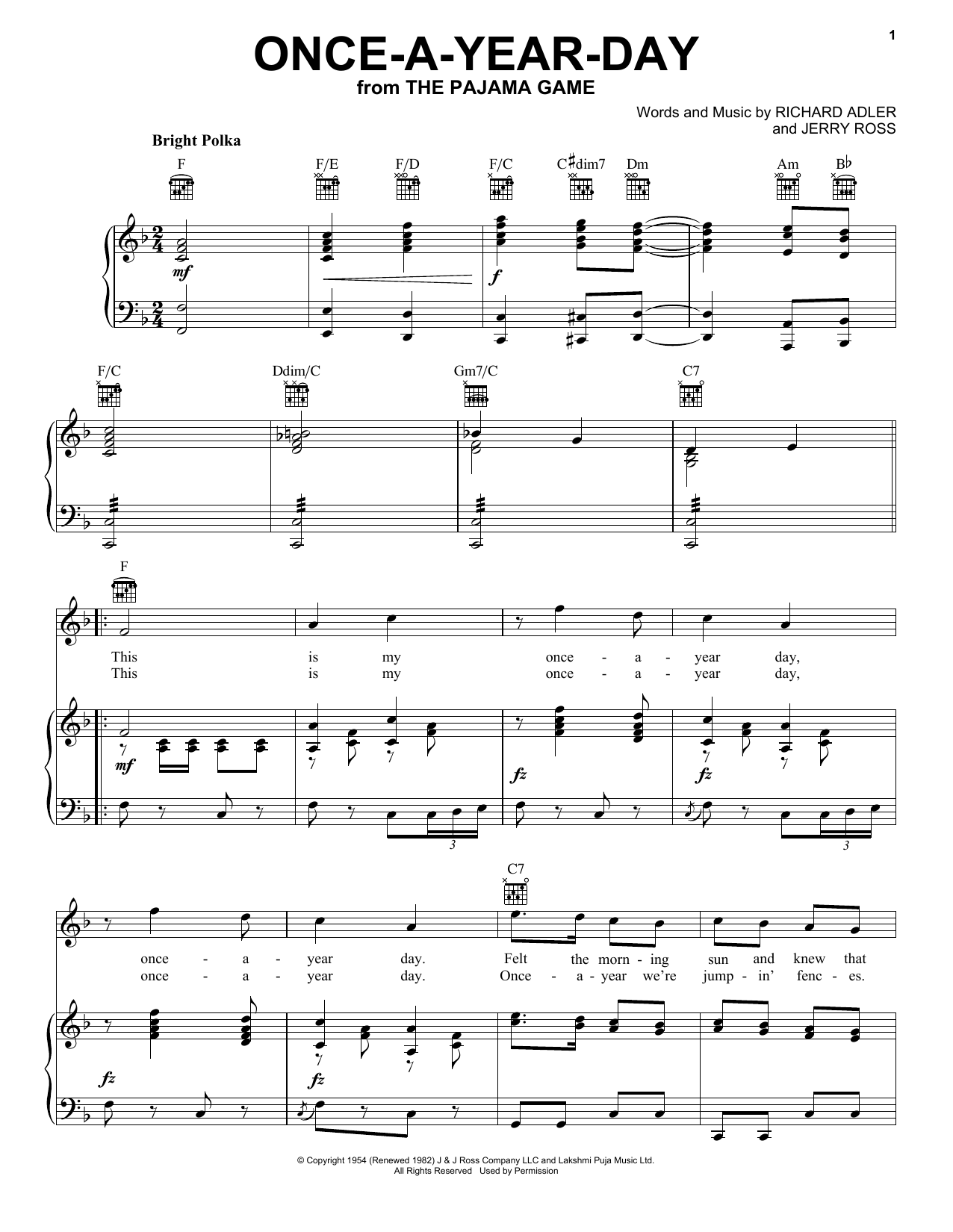 Adler & Ross Once-A-Year-Day sheet music notes and chords. Download Printable PDF.