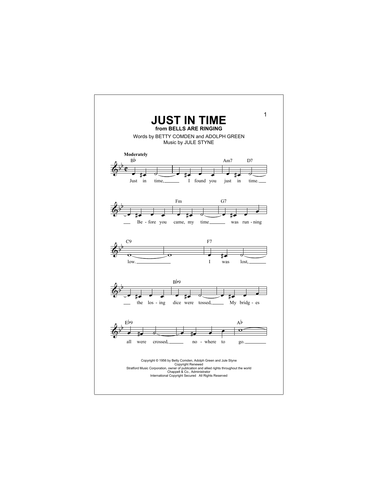 Adolph Green Just In Time sheet music notes and chords. Download Printable PDF.