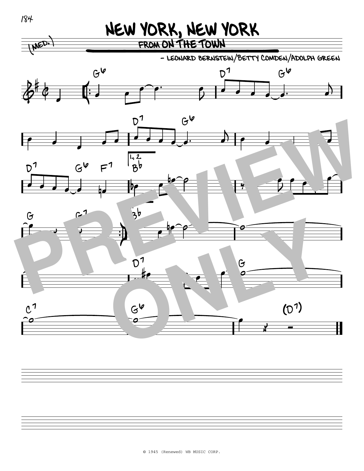 Adolph Green New York, New York (from On the Town) sheet music notes and chords. Download Printable PDF.