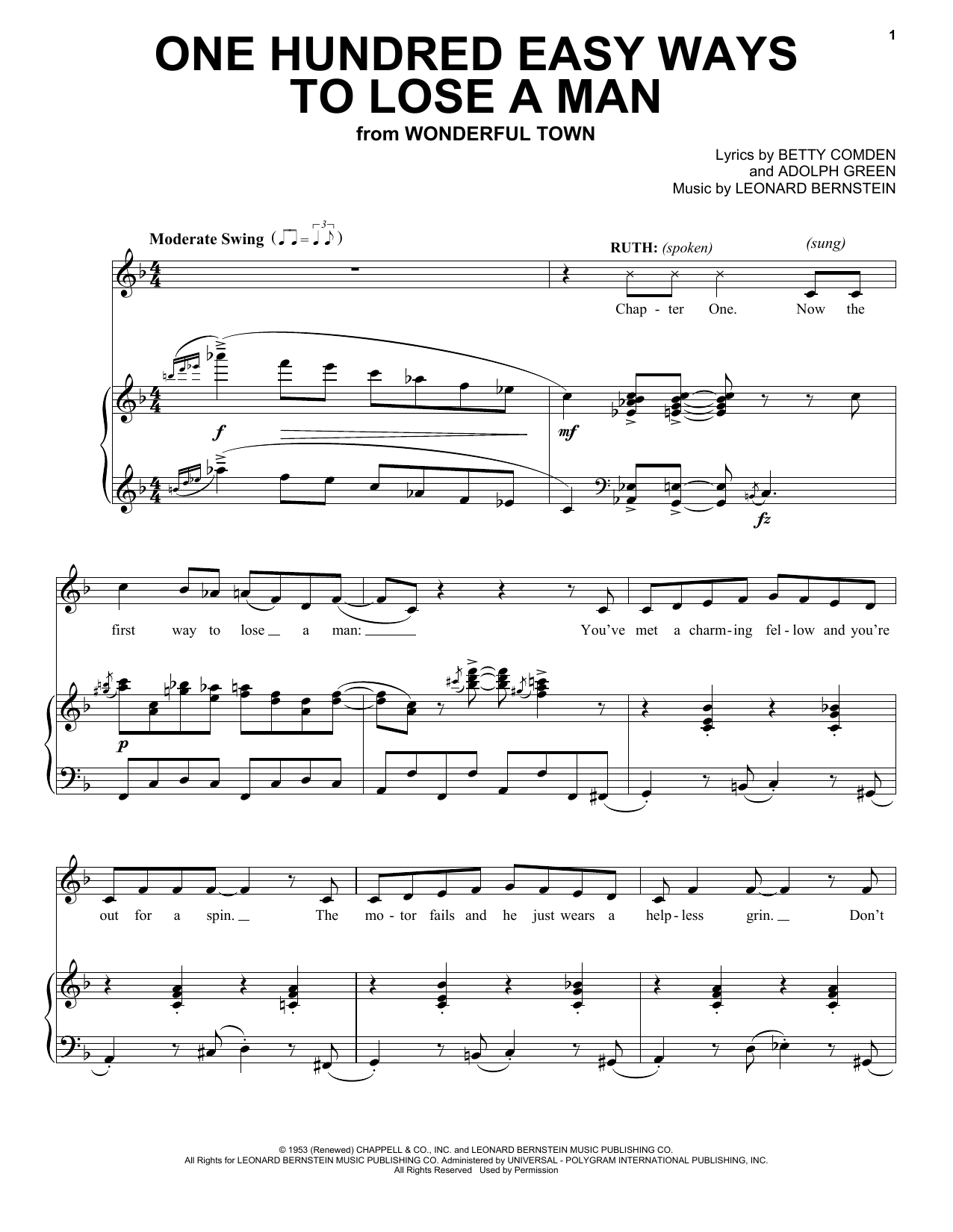 Adolph Green One Hundred Easy Ways To Lose A Man sheet music notes and chords. Download Printable PDF.