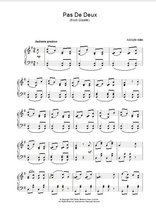 Adolphe Adam Pas De Deux (from Giselle) sheet music notes and chords. Download Printable PDF.