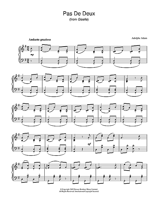 Adolphe Adam Pas De Deux (from Giselle) sheet music notes and chords
