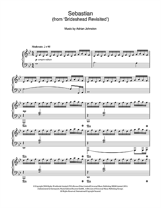 Adrian Johnston Sebastian (from 'Brideshead Revisited') sheet music notes and chords