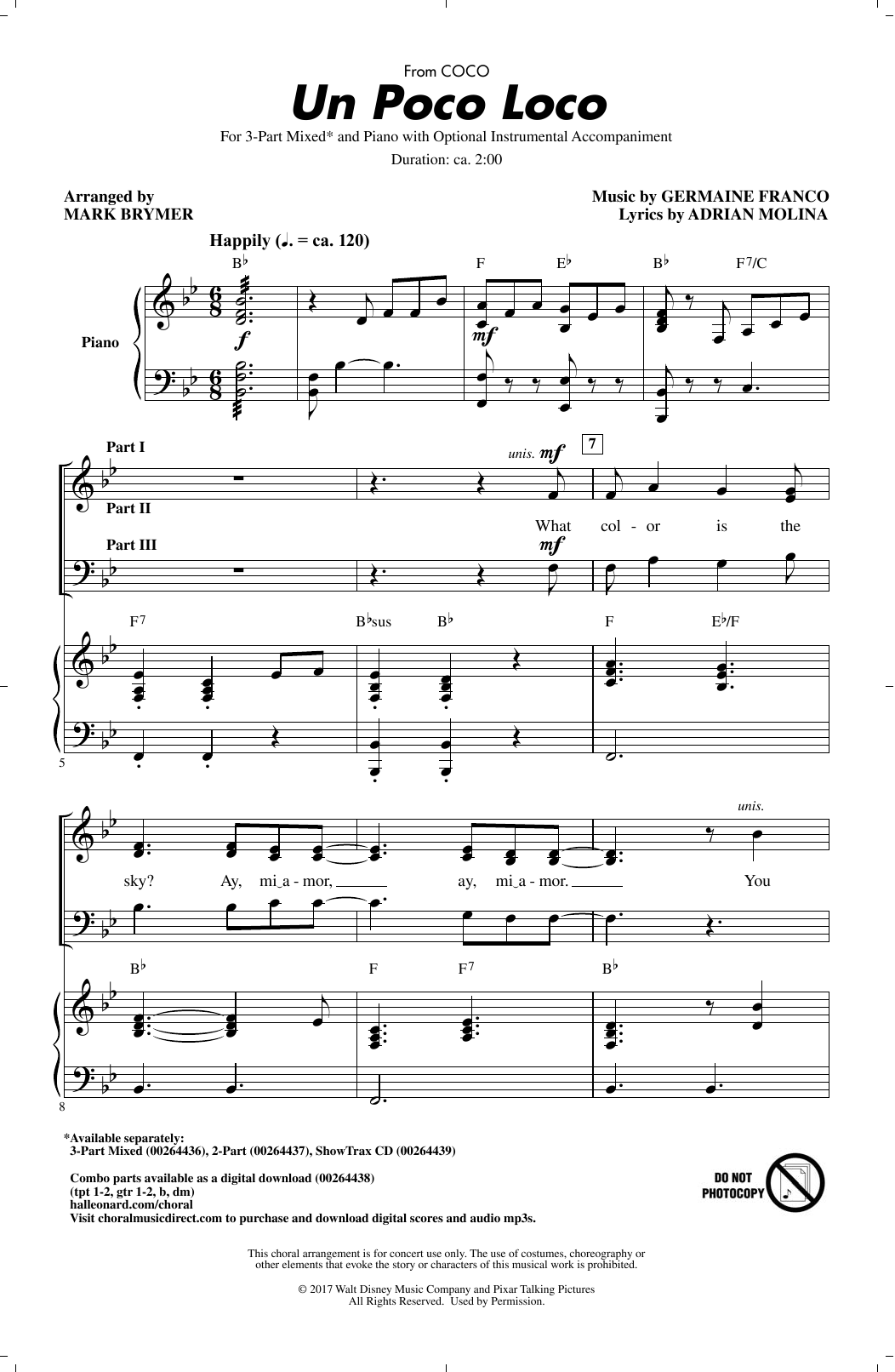 Adrian Molina Un Poco Loco (from 'Coco') (arr. Mark Brymer) sheet music notes and chords