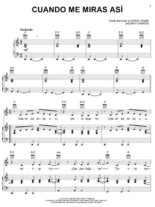 Adrian Posse Cuando Me Miras Asi sheet music notes and chords. Download Printable PDF.