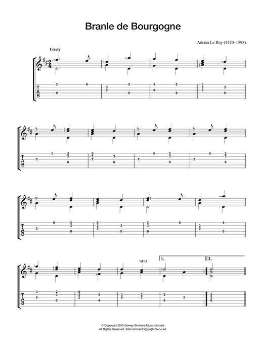 Adrien Le Roy Branle De Bourgogne sheet music notes and chords
