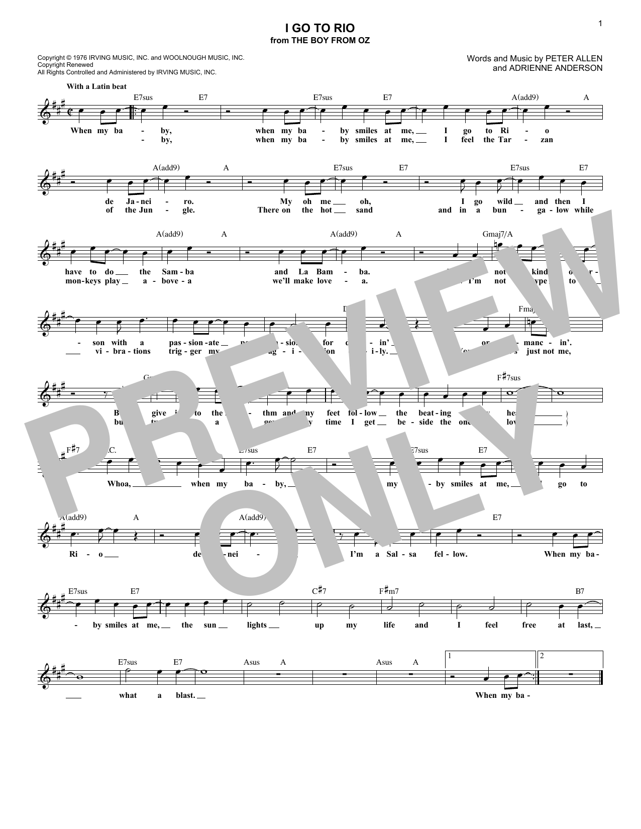 Adrienne Anderson I Go To Rio sheet music notes and chords. Download Printable PDF.