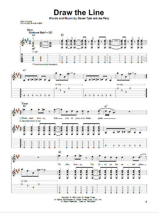 Aerosmith Draw The Line sheet music notes and chords. Download Printable PDF.