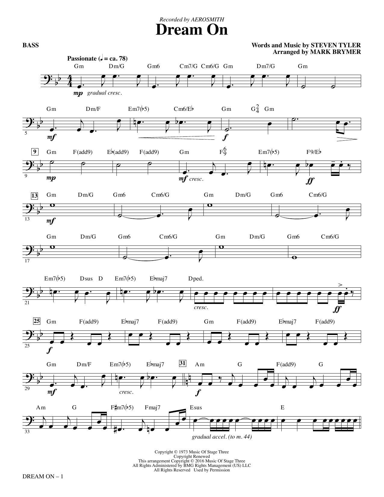 Aerosmith Dream On (arr. Mark Brymer) - Bass sheet music notes and chords. Download Printable PDF.