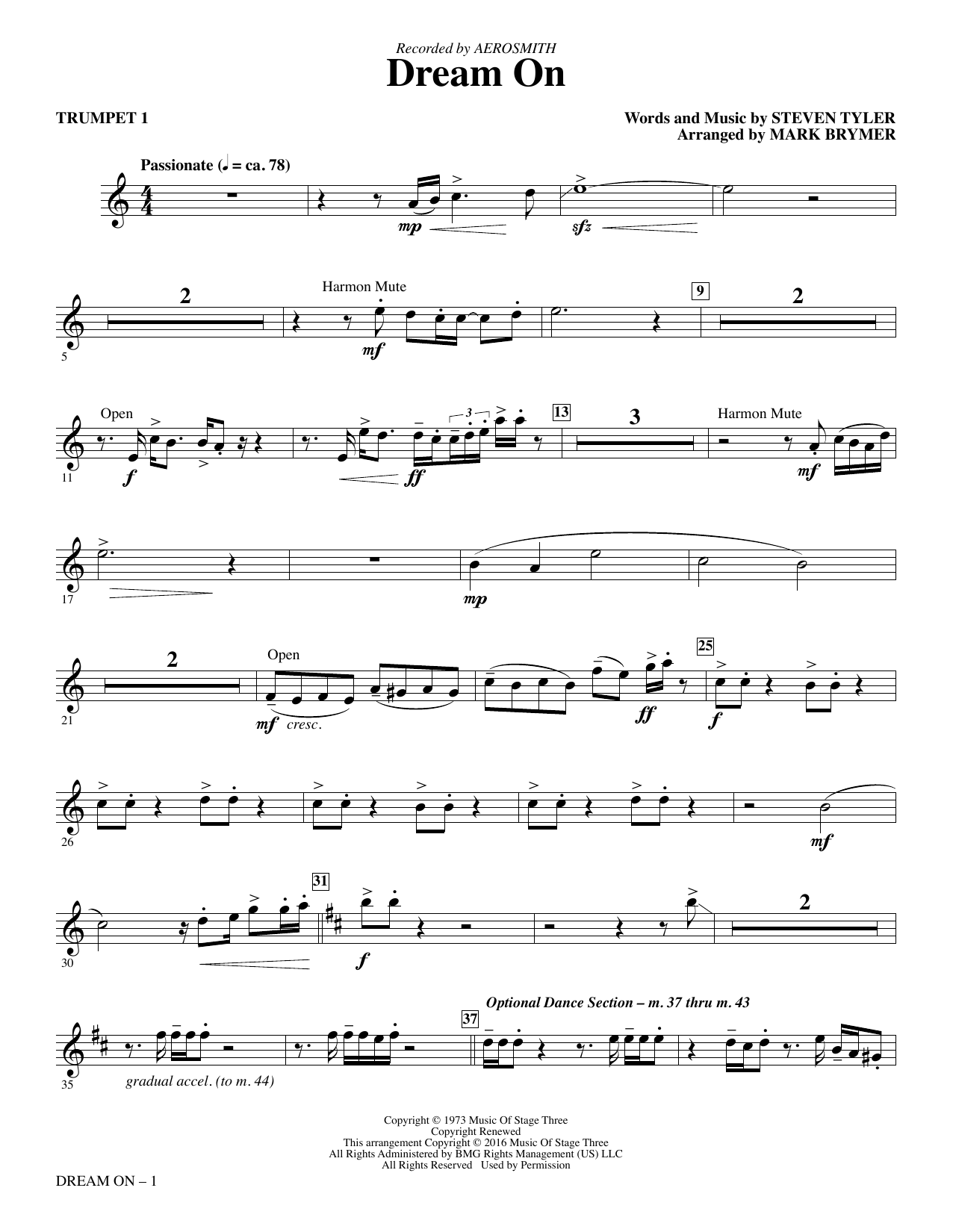 Aerosmith Dream On (arr. Mark Brymer) - Trumpet 1 sheet music notes and chords. Download Printable PDF.