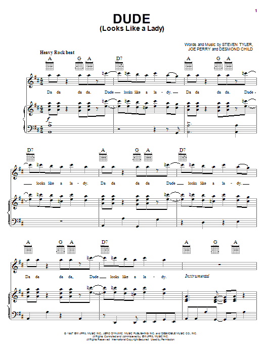 Aerosmith Dude (Looks Like A Lady) sheet music notes and chords. Download Printable PDF.