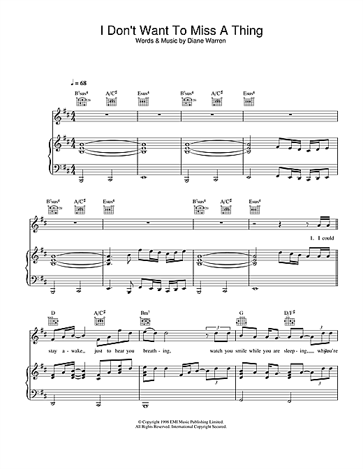 Aerosmith I Don't Want To Miss A Thing sheet music notes and chords. Download Printable PDF.