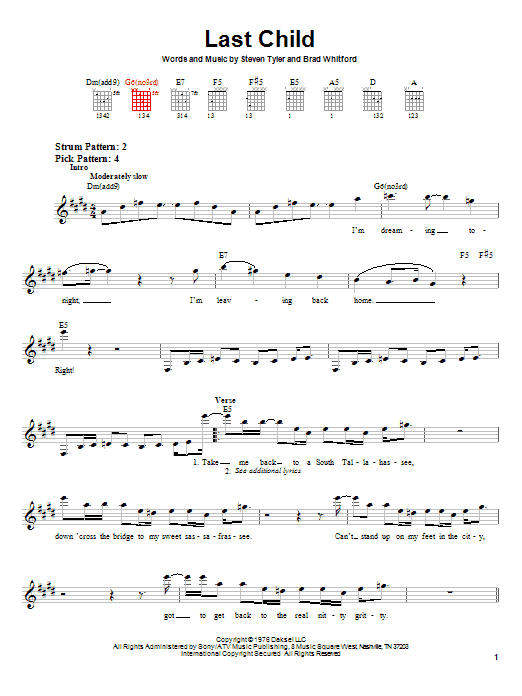 Aerosmith Last Child sheet music notes and chords. Download Printable PDF.