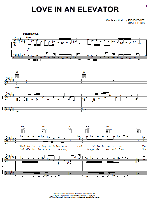 Aerosmith Love In An Elevator sheet music notes and chords