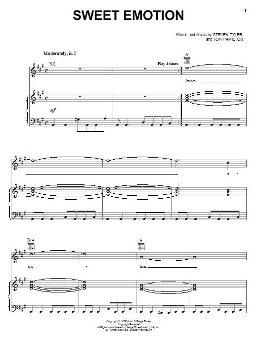 Aerosmith Sweet Emotion sheet music notes and chords. Download Printable PDF.