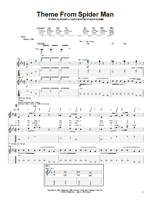 Aerosmith Theme From Spider-Man sheet music notes and chords. Download Printable PDF.