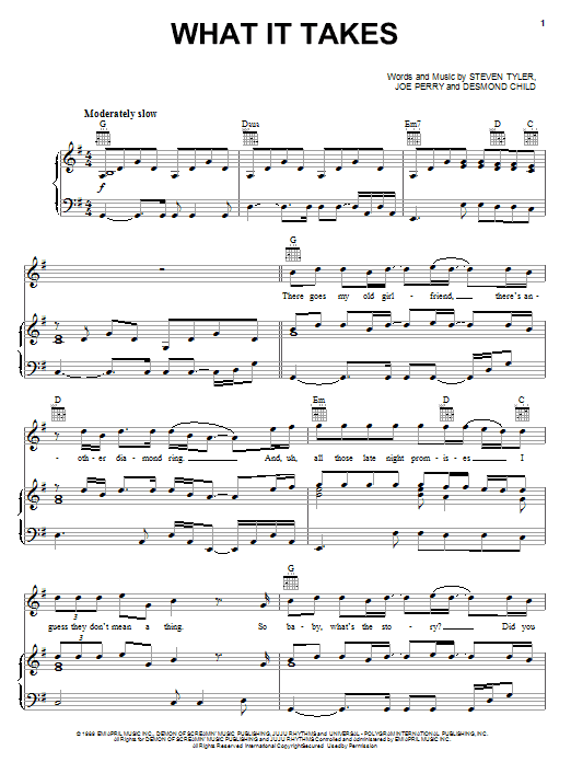 Aerosmith What It Takes sheet music notes and chords. Download Printable PDF.