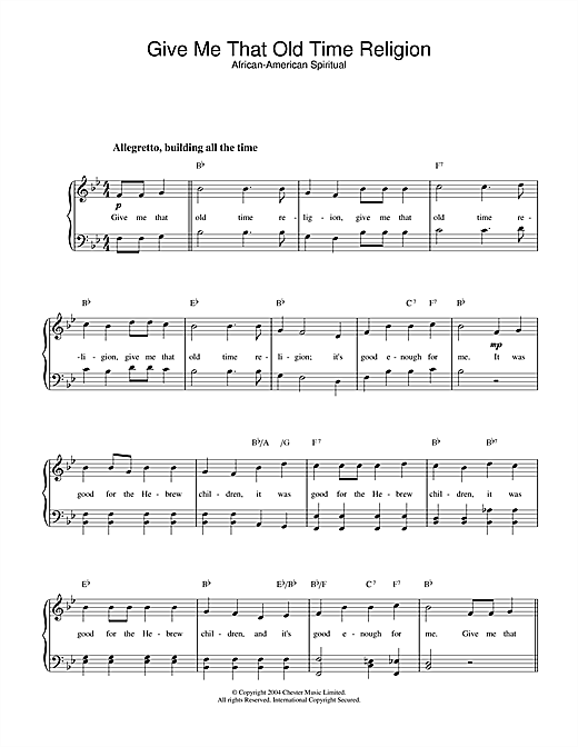 African-American Spiritual Give Me That Old Time Religion sheet music notes and chords. Download Printable PDF.