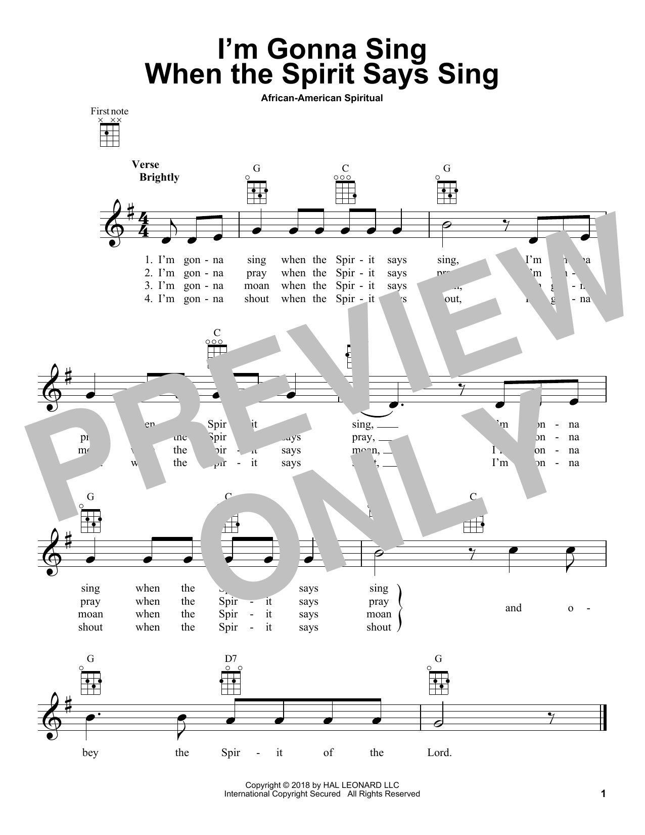 African-American Spiritual I'm Gonna Sing When The Spirit Says Sing sheet music notes and chords. Download Printable PDF.