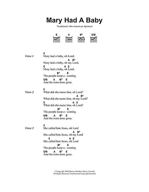 African-American Spiritual Mary Had A Baby sheet music notes and chords. Download Printable PDF.