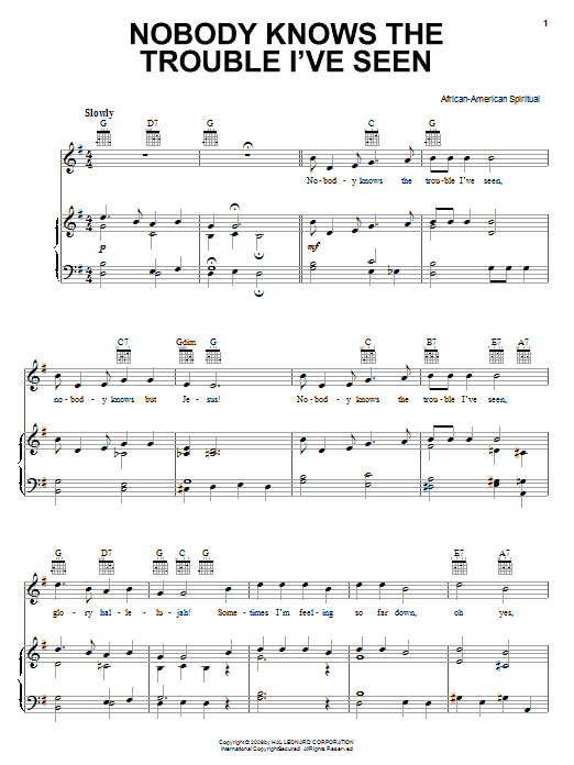 African-American Spiritual Nobody Knows The Trouble I've Seen sheet music notes and chords. Download Printable PDF.