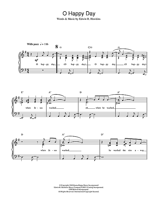 African-American Spiritual Oh Happy Day sheet music notes and chords. Download Printable PDF.