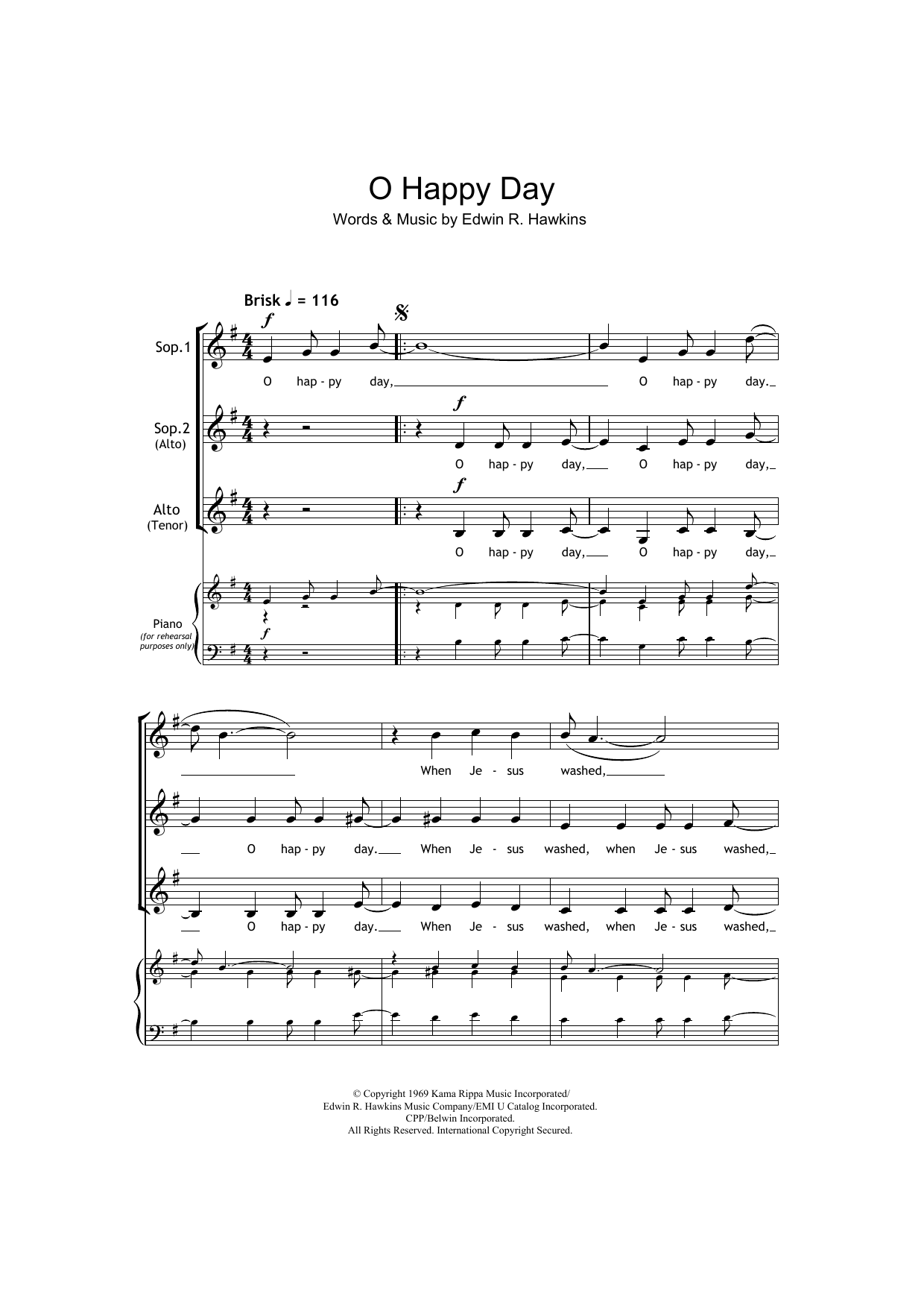 African-American Spiritual Oh Happy Day (arr. Barrie Carson Turner) sheet music notes and chords. Download Printable PDF.
