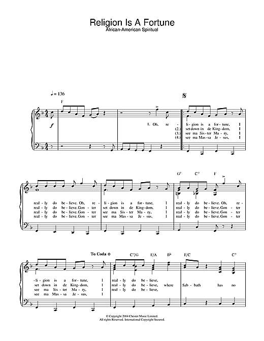 African-American Spiritual Religion Is A Fortune sheet music notes and chords
