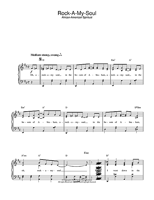 African-American Spiritual Rock-A-My-Soul sheet music notes and chords. Download Printable PDF.