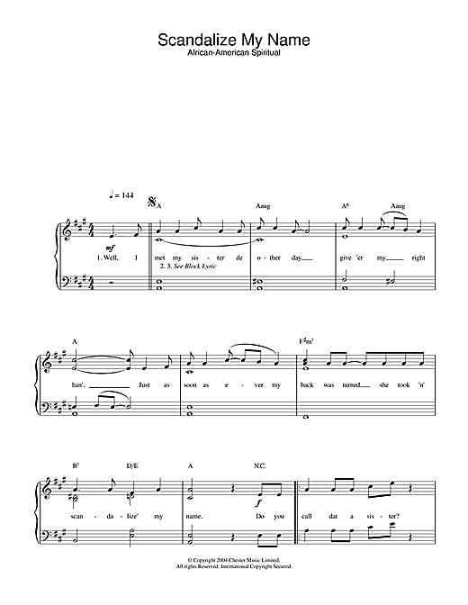 African-American Spiritual Scandalize My Name sheet music notes and chords. Download Printable PDF.