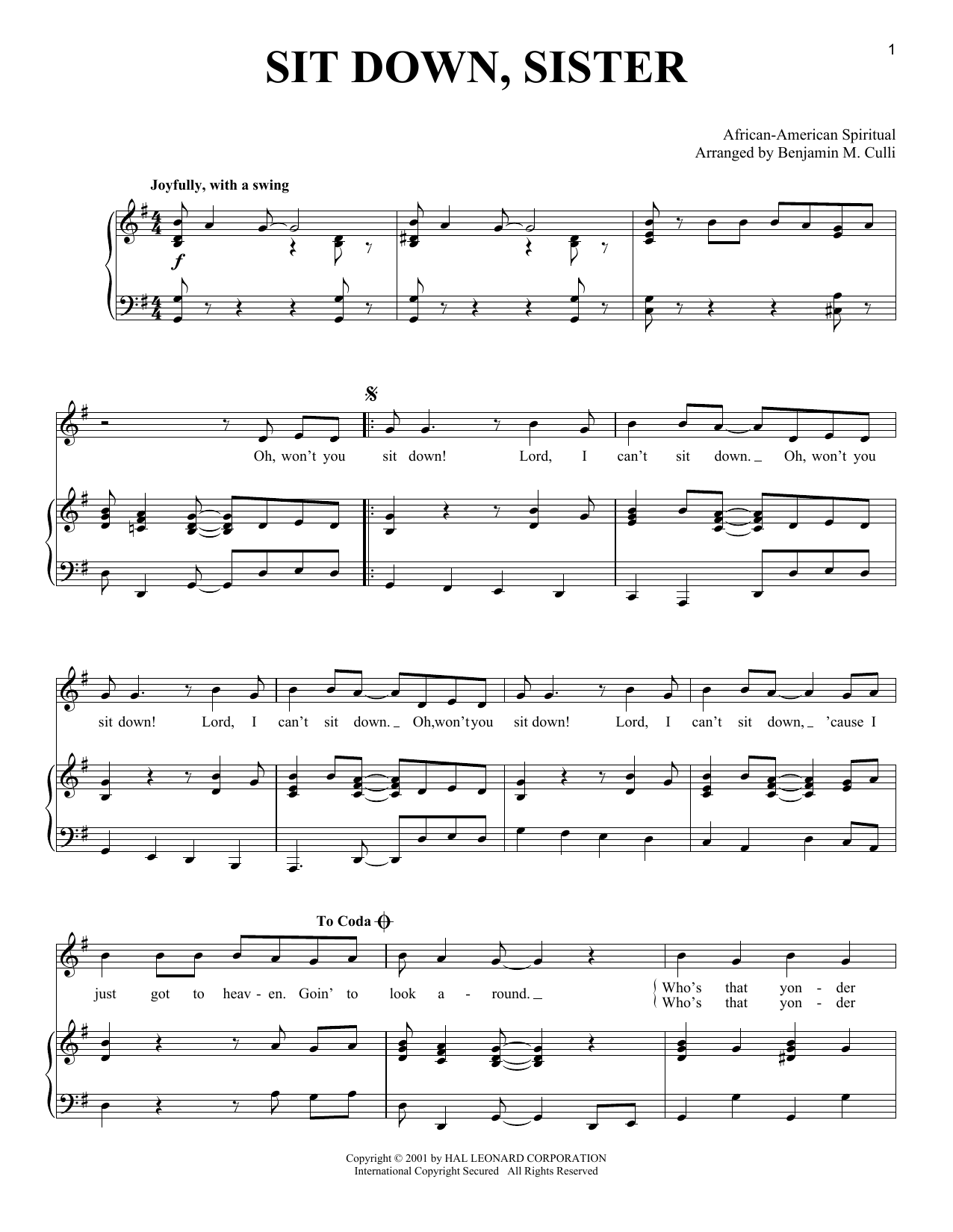 African-American Spiritual Sit Down, Sister sheet music notes and chords. Download Printable PDF.