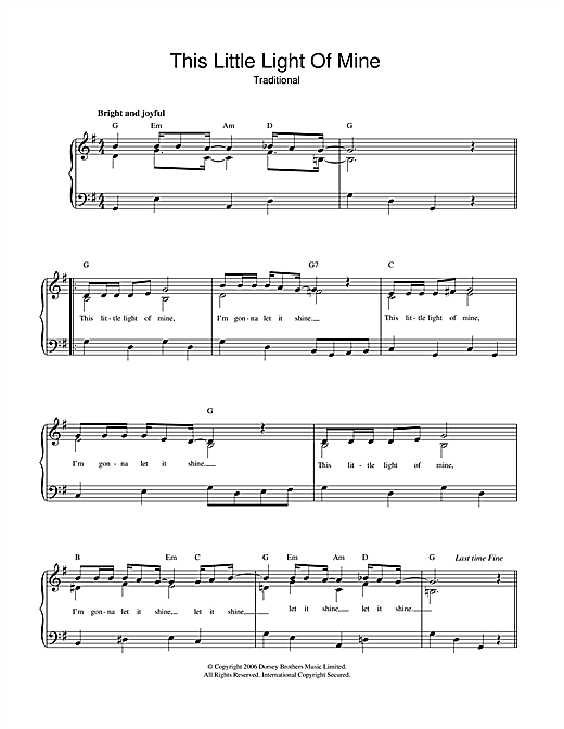 African-American Spiritual This Little Light Of Mine sheet music notes and chords. Download Printable PDF.