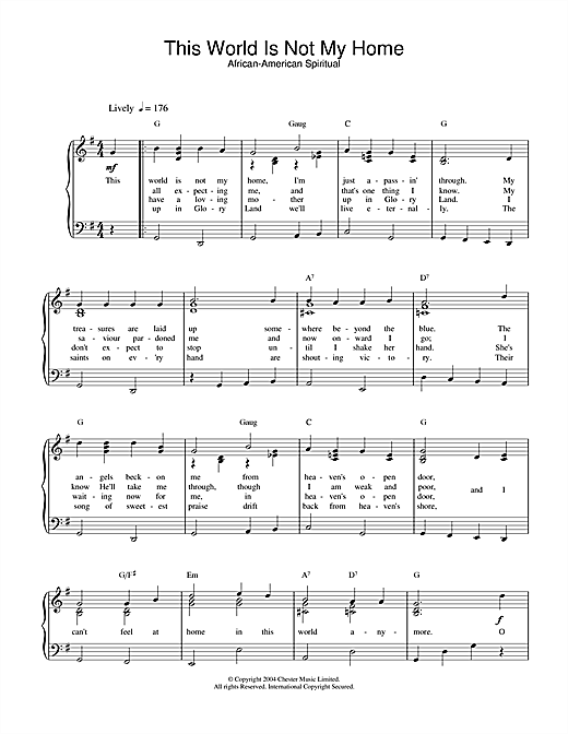 African-American Spiritual This World Is Not My Home sheet music notes and chords. Download Printable PDF.