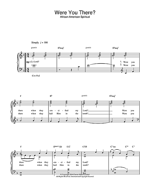 African-American Spiritual Were You There? sheet music notes and chords. Download Printable PDF.