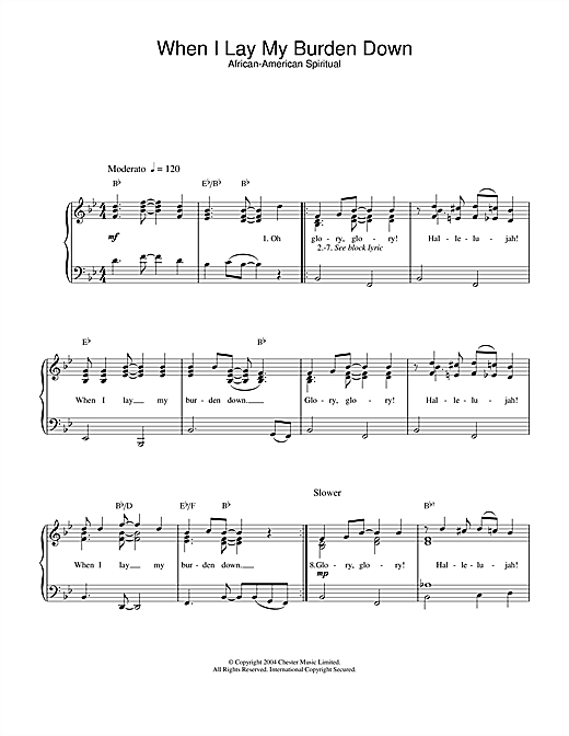 African-American Spiritual When I Lay My Burden Down sheet music notes and chords. Download Printable PDF.