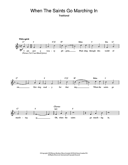 African-American Spiritual When The Saints Go Marching In sheet music notes and chords. Download Printable PDF.