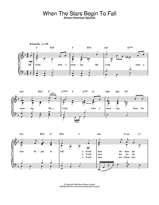 African-American Spiritual When The Stars Begin To Fall sheet music notes and chords. Download Printable PDF.