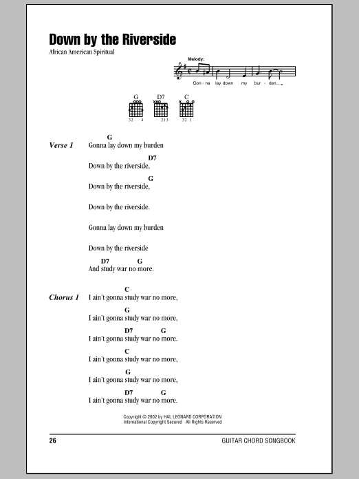 African American Spiritual Down By The Riverside sheet music notes and chords. Download Printable PDF.