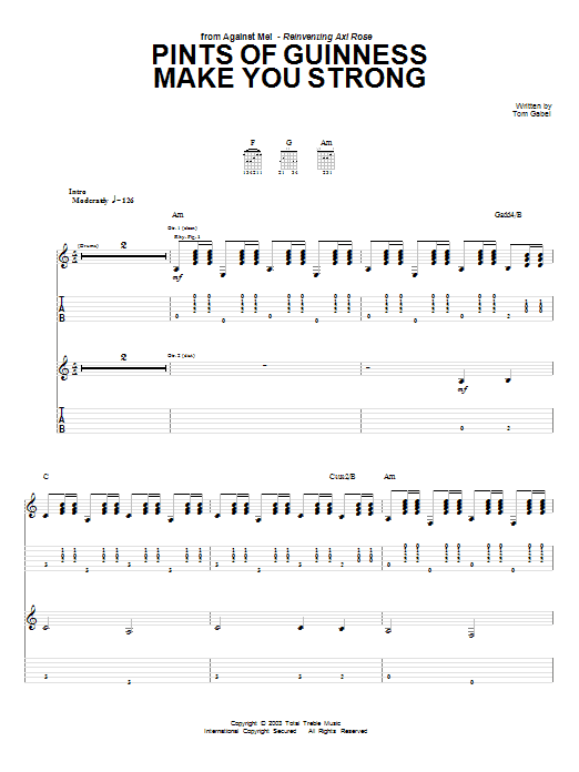 Against Me! Pints Of Guinness Makes You Strong sheet music notes and chords. Download Printable PDF.