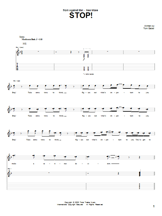 Against Me! Stop! sheet music notes and chords. Download Printable PDF.