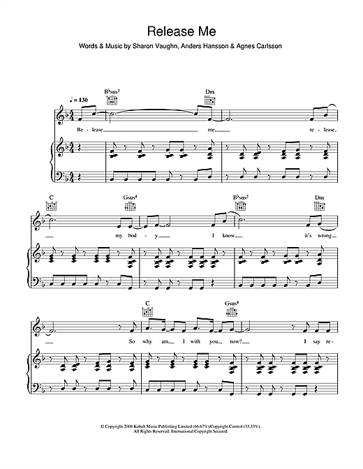 Agnes Release Me sheet music notes and chords. Download Printable PDF.