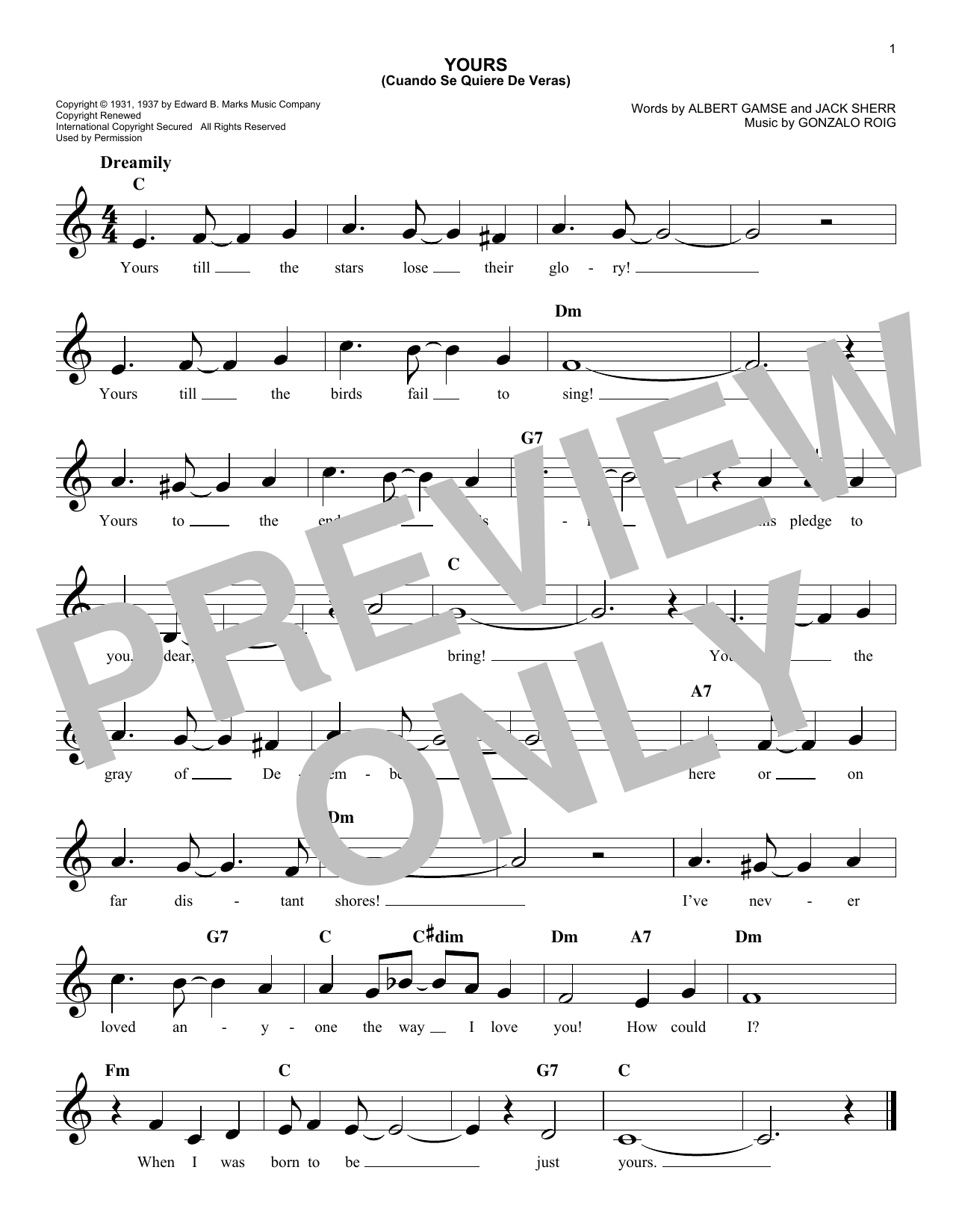 Agustin Rodriguez Yours (Quiereme Mucho) sheet music notes and chords. Download Printable PDF.